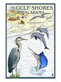 Gulf Shores, Alabama - Nautical Chart Láminas por  Lantern Press
