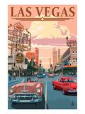 Las Vegas Old Strip Scene Kunstdruck von  Lantern Press