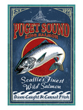 Seattle, Washington - King Salmon Posters van  Lantern Press