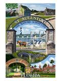 St. Augustine, Florida - Montage Scenes Giclée-Premiumdruck von  Lantern Press