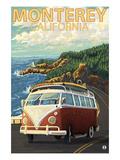 Monterey, California - VW Van Prints by  Lantern Press