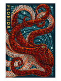 Octopus Paper Mosaic - Florida Kunstdrucke von  Lantern Press