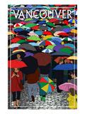 Umbrellas - Vancouver, BC Plakater af  Lantern Press