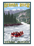Nenana River, Alaska - River Rafters and Railroad Prints by  Lantern Press