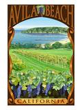 Avila Beach, California - Vineyard and Ocean Scene Pósters por  Lantern Press