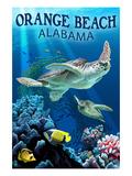 Orange Beach, Alabama - Sea Turtles Swimming Láminas por  Lantern Press