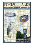 Portage Lakes, Ohio - Nautical Chart Giclée-Premiumdruck von  Lantern Press