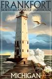 Frankfort Lighthouse, Michigan Print by  Lantern Press