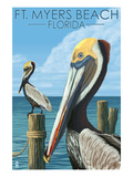Ft. Myers Beach, Florida - Pelicans Affiches par  Lantern Press