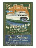 Seattle, Washington - Ferry Premium Giclee Print by  Lantern Press