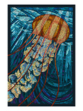 Jellyfish - Paper Mosaic Poster by  Lantern Press