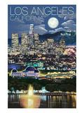 Los Angeles, California - Los Angeles at Night Poster by  Lantern Press
