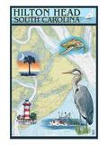 Hilton Head, South Carolina - Nautical Chart Poster by  Lantern Press