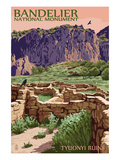 Bandelier National Monument, New Mexico - Tyuonyi Ruins Prints by  Lantern Press