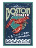 Boston, Massachusetts - Lobster Plakater af  Lantern Press