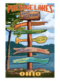 Portage Lakes, Ohio - Sign Destinations Premium gicléedruk van  Lantern Press