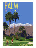Palm Desert, California - Golfing Scene Affischer av  Lantern Press