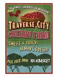 Traverse City, Michigan - Cherry Farm Affiches par  Lantern Press