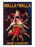 Women Dancing with Wine - Walla Walla, Washington Prints by  Lantern Press