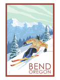 Downhhill Snow Skier - Bend, Oregon Poster by  Lantern Press