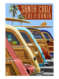 Santa Cruz, California - Woodies Lined Up Posters by  Lantern Press