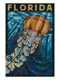 Jellyfish Paper Mosaic - Florida Poster von  Lantern Press
