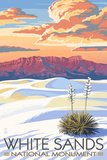 White Sands National Monument, New Mexico - Sunset Scene Print by  Lantern Press