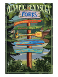 Forks, Washington - Sign Destinations Kunst van  Lantern Press