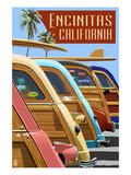 Encinitas, California - Woodies Lined Up Prints by  Lantern Press