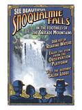 Snoqualmie Falls, Washington Lámina giclée prémium por  Lantern Press