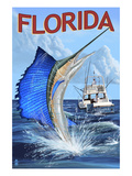 Florida - Sailfish Scene Poster by  Lantern Press