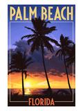Palm Beach, Florida - Palms and Sunset Pósters por  Lantern Press