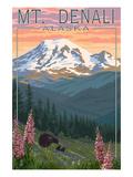 Bear and Cubs Spring Flowers - Mount Denali, Alaska Pósters por  Lantern Press