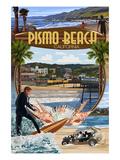 Pismo Beach, California - Montage Scenes Giclée-Premiumdruck von  Lantern Press