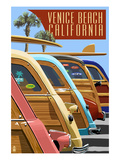 Venice Beach, California - Woodies Lined Up Art by  Lantern Press