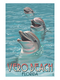 Dolphin Trio - Vero Beach, Florida Stampe di  Lantern Press