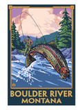Boulder River, Montana - Fly Fishing Scene Giclée-Premiumdruck von  Lantern Press