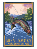 Angler Fly Fishing Scene - Great Smoky Mountains Kunst von  Lantern Press