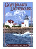 Kennebunkport, Maine - Goat Island Lighthouse Art by  Lantern Press