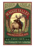 Maggie Valley, North Carolina - Elk Pale Ale Premium Giclée-tryk af  Lantern Press
