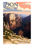 Zion National Park - Zion Canyon Sunset Plakater av  Lantern Press