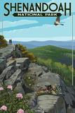 Shenandoah National Park, Virginia - Hikers and Hawk Plakater av  Lantern Press