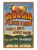 Georgia - Peach Farm Prints by  Lantern Press