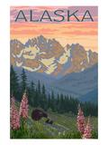 Alaska - Bear and Cubs Spring Flowers Affiches par  Lantern Press