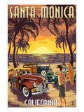 Santa Monica, California - Woodies and Sunset Prints by  Lantern Press