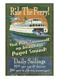 Port Townsend, Washington - Ferry Premium Giclee Print by  Lantern Press