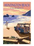 Huntington Beach, California - Woody on Beach Prints by  Lantern Press