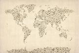 Music Notes Karte von der Welt Map Kunstdrucke von Michael Tompsett
