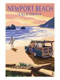 Newport Beach, California - Woody on Beach Poster by  Lantern Press