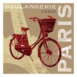 Cycling in Paris Premium Giclee-trykk av Sue Schlabach